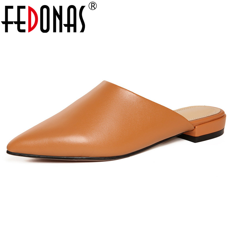 FEDONAS Rome Style Mules Shoes Woman Genuine Leather Low Heels Spring Autumn Pointed Toe Party Wedding Pumps Comfort Casual Shoe facndinll 2018 spring women pumps shoes med heels pointed toe rivets patent leather rome style shoes woman casual shoes pumps