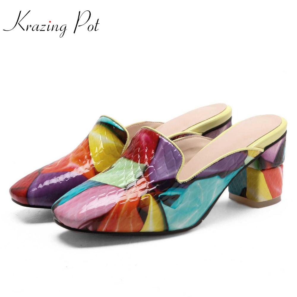 Krazing pot 2018 summer season cow leather high heels colorful shallow square toe slip on dinner party luxury banquet pumps L7f3 gold chain party 2017 spring summer casual shallow slip on square toe bling square heels women pumps free ship mujer pantufa