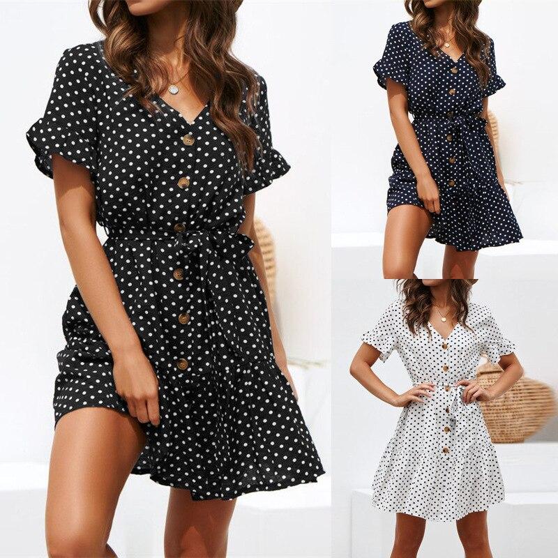 S-3XL Small Polka Dot Print Mini Tea Dress For Women Vintage 80s Chiffon Button Down Tie Wasit Style Plain Black Lady Plus Size