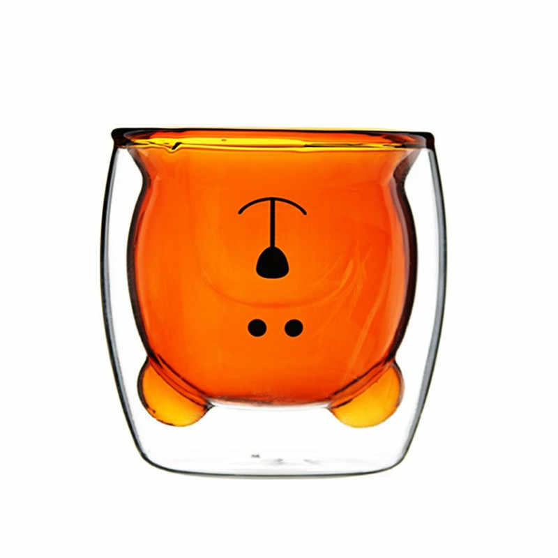 Creative Bear Lead-free Double Wall Handmade Glass Heat Resistant Milk Drink Cup Insulated Clear Glass Tea Coffee Drinkware