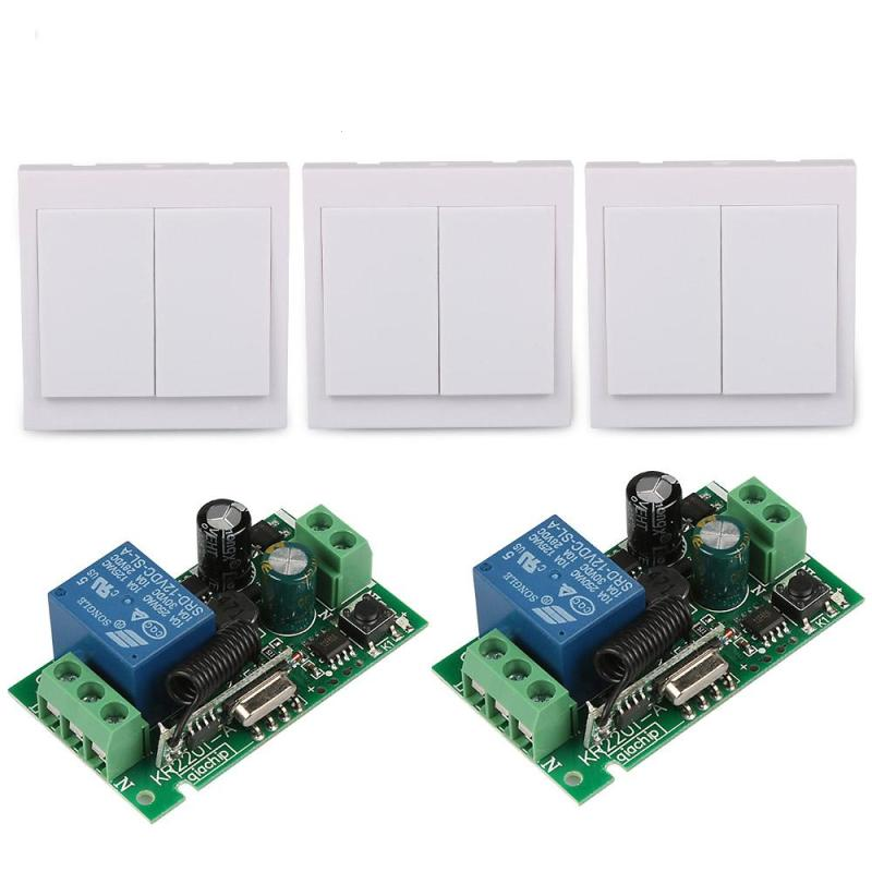 86 Wall Panel Switc 2CH 433MHz Transmitter 1 CH Relay Receiver Switch RF TX Relay Receiver Module Remote Control System DS25