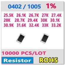 ОМ 0402 F 1% 10000 шт. 25.5 К 26.1 К 26.7 К 27 К 27.4 К 28 К 28.7 К 29.4 К 30 К 30.1 К 30.9 К 31.6 К 32.4 К 33 К 33.2 К smd 1005 резистор