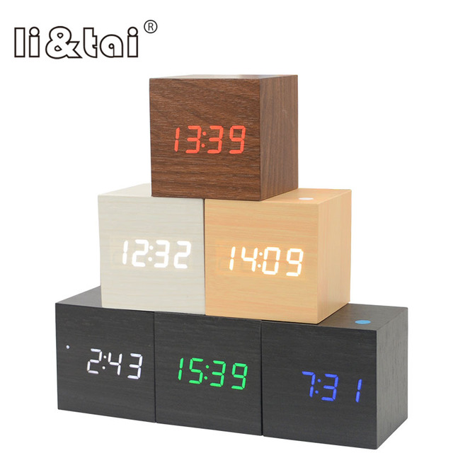 Multicolor Cube LED Wooden Alarm Clock Modern Sound Control Square Desktop Table Digital Thermometer Wood USB/AAA Date Display