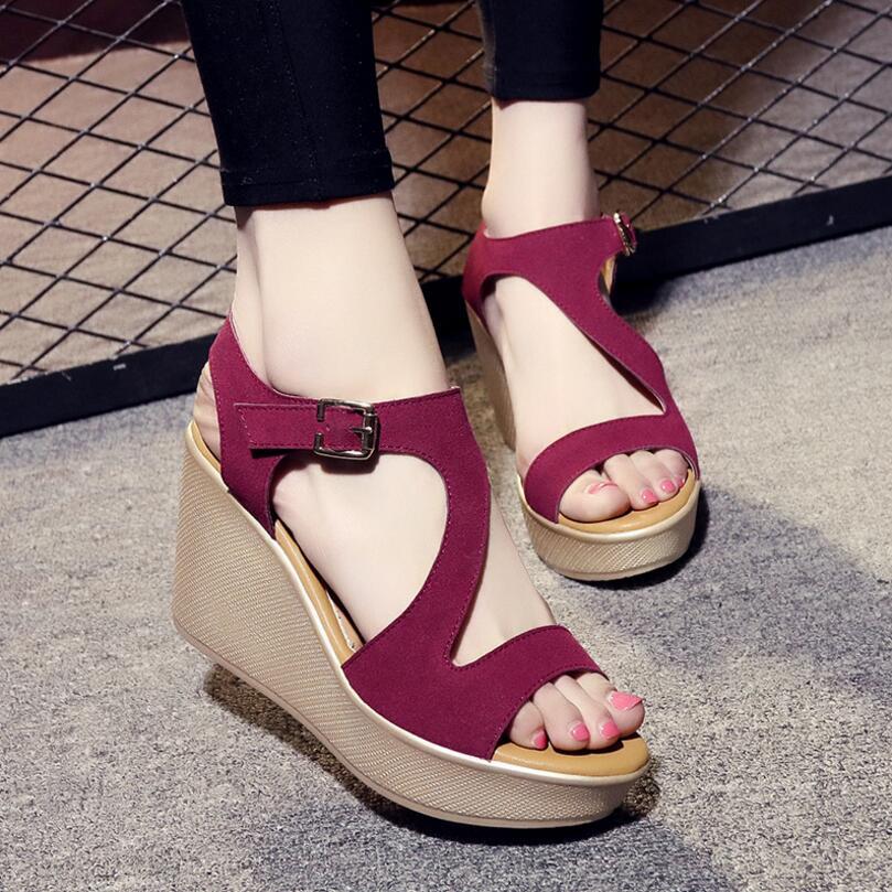 Best buy ) }}D&Henlu Black Shoes For Women Heel Wedges Sandal Women Summer