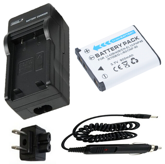 Battery + Charger for KODAK KLIC-7006, Pentax Optio D-LI108, D-LI63,SANYO DS5370, NIKON EN-EL10,EN EL10,ENEL 10 Polaroid BLi-272
