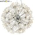 Led хрустальный шар подвесной светильник современный Одуванчик столовая Ресторан дизайн лампа домашний декор хромированный светильник G4 ла...
