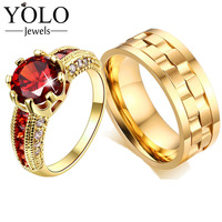 Vintage Luxury Couple Engagement Rings Red Color Cubic Zirconia Ring for Girl Boheme Lord of the Ring New Accessories 2019