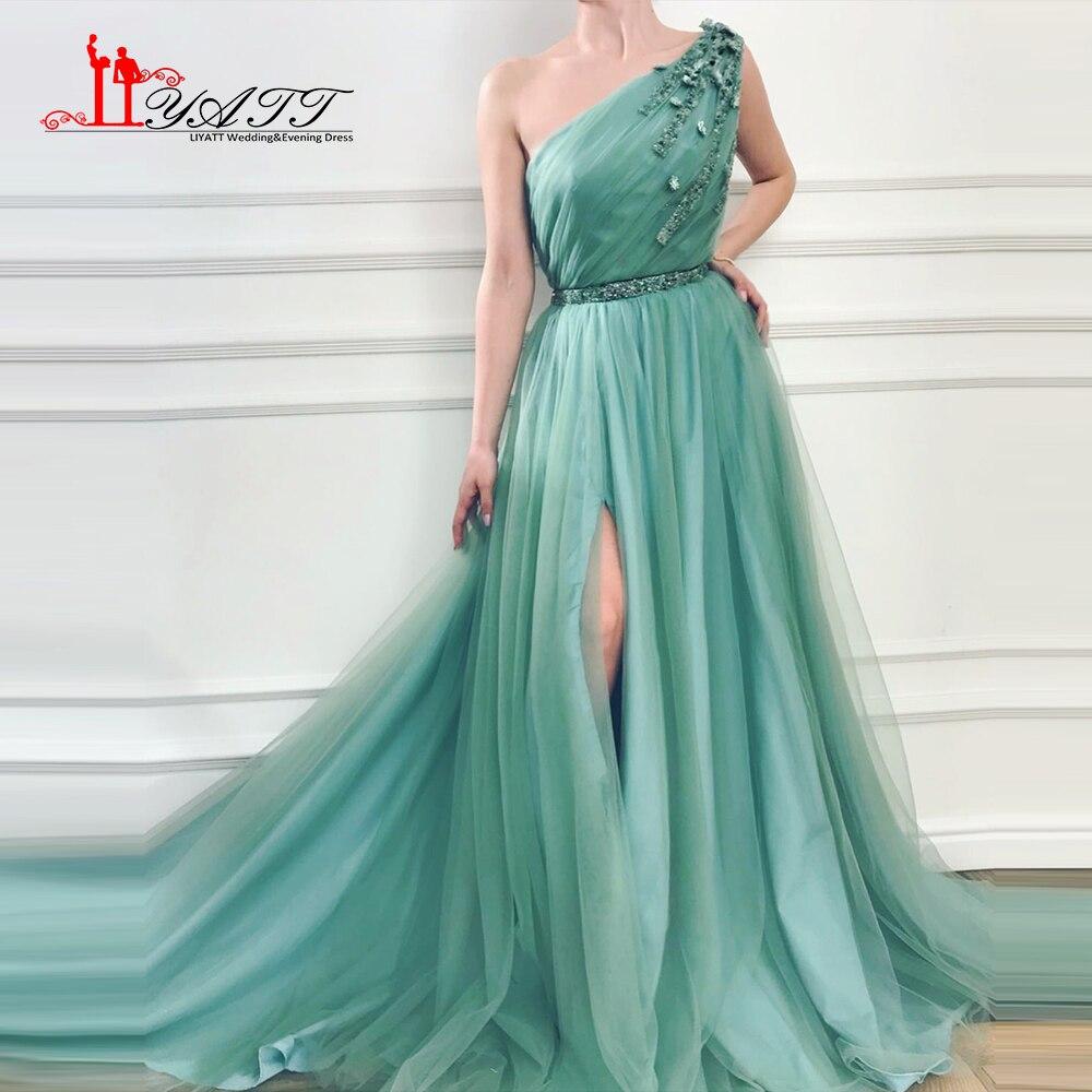 Liyatt 2018 Robe De Soiree Longue A-line One Shoulder Green Evening Dress Ruffles Beading Waist High Split Elegant Party Gown