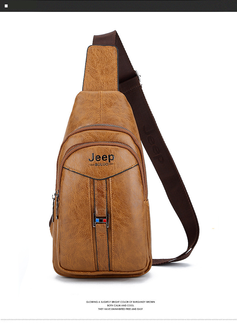JEEP BULUO Chest Bags For Men Brand Leather Crossbody Sling Bag Fashion New  Hobo Bags Undergraduates Drop shipping 86471c1657b7b