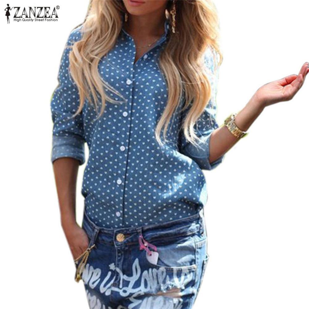 ZANZEA 2020 Autumn Blusas Plus Size Women Blouse Casual Lapel Long Sleeve Single-Breasted Tops Back Split Print Shirts Lady Top