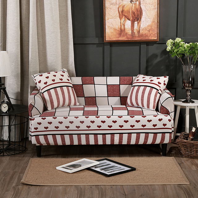 Plaid Couch Sofa Covers For Living Room Polyester Modern