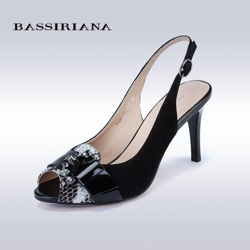 ФОТО High thin heels Sandals for Woman Basic model Genuine leather Casual 35-40size Sandals women Peep toe Free shipping BASSIRIANA