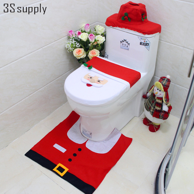 toilet seat lid covers. Christmas Bathroom Decorations Lovely Three Piece Santa Claus Toilet Seat  Lid Cover Set Foot Pad