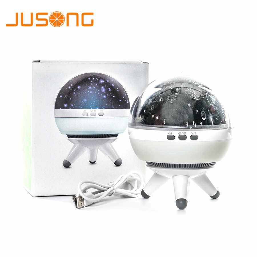 цена на JUSONG Led Night Light Rotating Projector Spin Starry Sky Star Master Children Kids Baby Sleep Romantic Led USB Lamp Projector