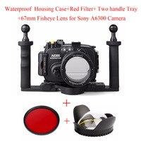 Meikon 40 m/130ft Su Geçirmez Sualtı kamera muhafazası Sony A6300 16-50mm Lens + Tepsi + kırmızı Filtre + 67mm Balıkgözü Lens