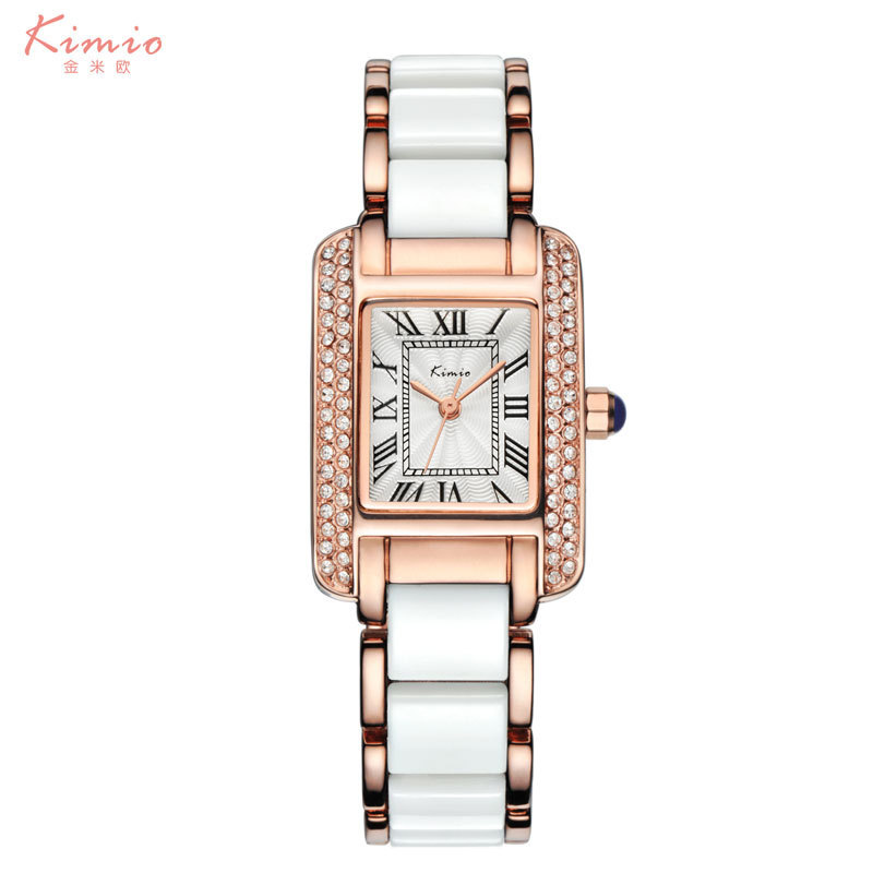 KIMIO Top Brand Luxury Women Watches Bracelet Watch Ladies Blue Ceramics Quartz Dress Wristwatch Rhinestone Relogio Feminino bs brand women luxury fashion rhinestone watches lady shining dress watch square bracelet wristwatch ladies diamond quartz watch