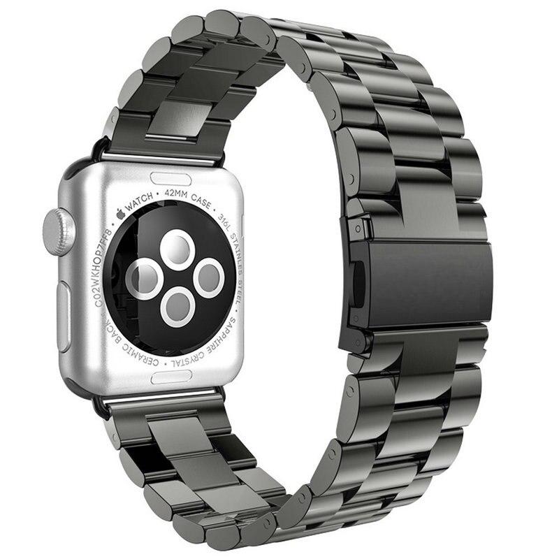 Maçã Assistir Banda pulsera oro Acero inoxidable 42mm negro Relógio Banda 38mm parágrafo hebilla Clipe adaptador para Apple iWatch
