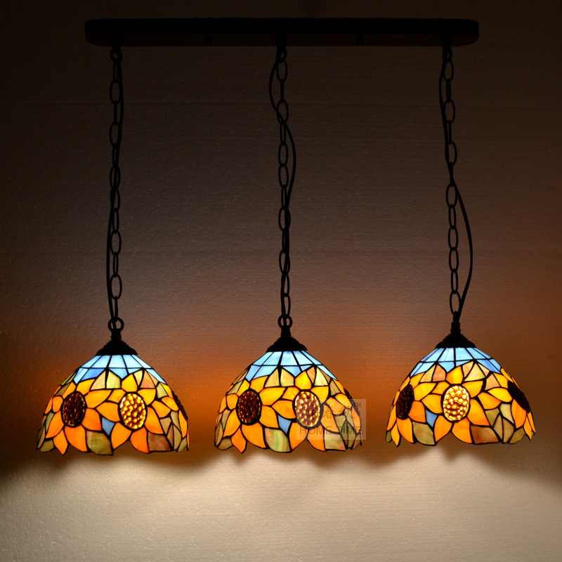 Tiffany sunflower Stained Glass Suspended Luminaire E27 110-240V Chain Pendant lights  for Home Parlor Dining Room tiffany baroque sunflower stained glass iron mermaid wall lamp indoor bedside lamps wall lights for home ac 110v 220v e27