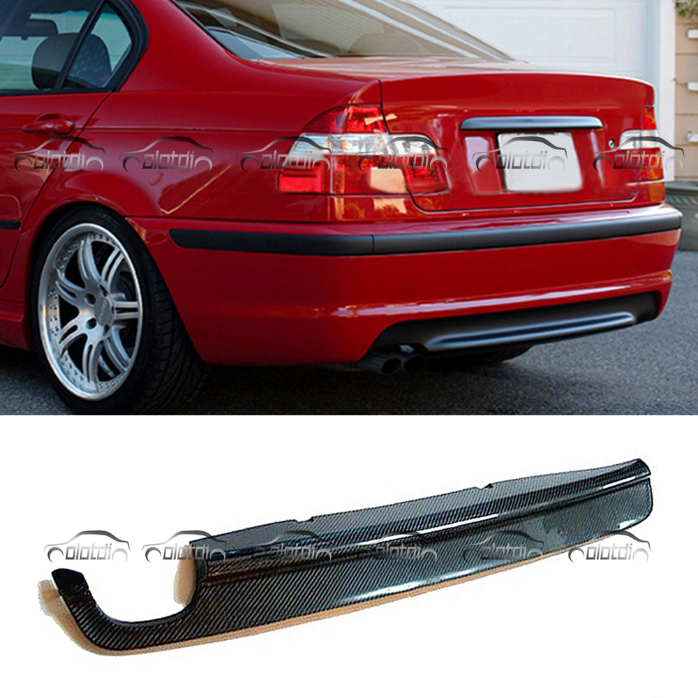 Car Styling Carbon Fiber Rear Diffuser Lip Spoiler For BMW E46 M-Tech Bumper Double Exhaust Tips Bumper olotdi car styling carbon fiber back lip rear bumper diffuser spoiler splitter for porsche macan 2014 2016
