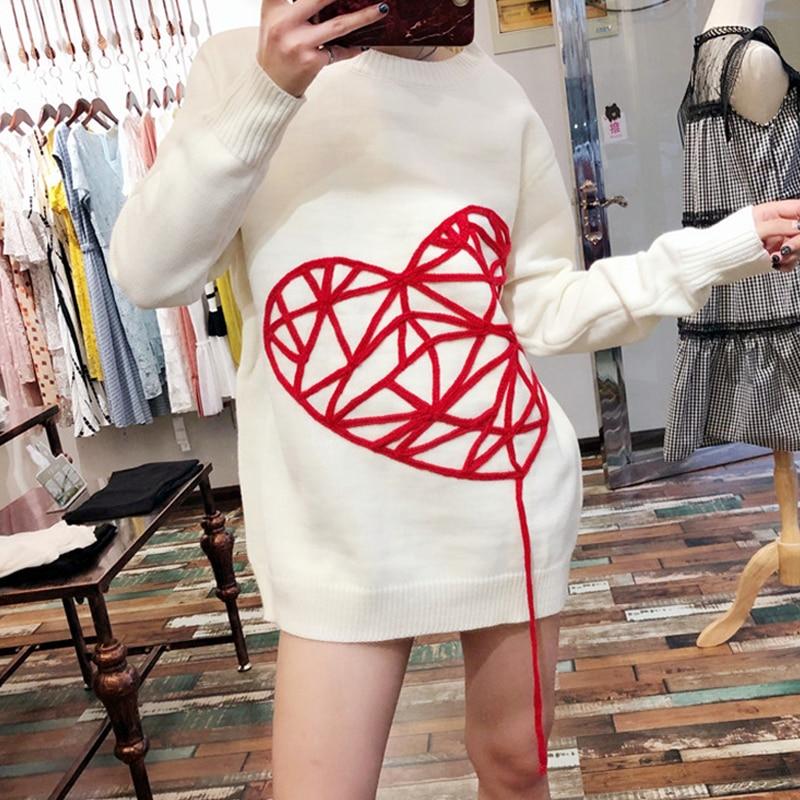 2019 7 Suelta Punto Mang Las Coreano Jersey De Mujeres Lindo Blanco Dulce Largo Suéter 1228 Calle Caliente Invierno Fiesta Corazón UU5qr7w
