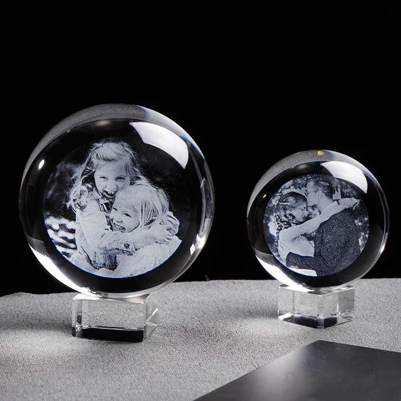 Glass Photo Bola Pribadi Bola Kristal Advanced Laser Ukiran Disesuaikan Dunia Dekorasi Rumah Aksesoris Bayi Kaca Foto Sphere