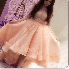 Saudi Arabisch Rosa Organza Huate Couture Jewel Appliqued Spitze Ärmellose Kurze Vordere Lange Rückseitige Abendkleider