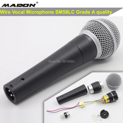 Free shipping,  Grade A quality SM58LC shuretype wire vocal microphone