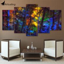 HD printed 5 piece canvas art colorful forest tree poster paintings living room decor wall canvas art sets free shipping ny-6502(China)