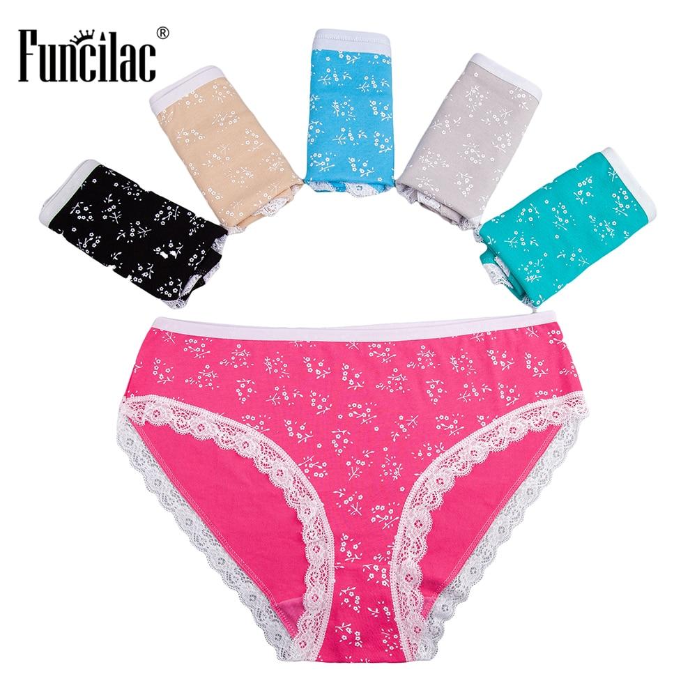 FUNCILAC Woman Underwear Plus Size   Panties   Lace Sexy Underpants Girls Print Cotton Briefs For Women Fashion Female 5Pcs/Lot