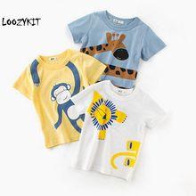 Loozykit/Новинка г.; модная детская футболка с рисунком обезьяны, Льва, жирафа для маленьких мальчиков; футболки