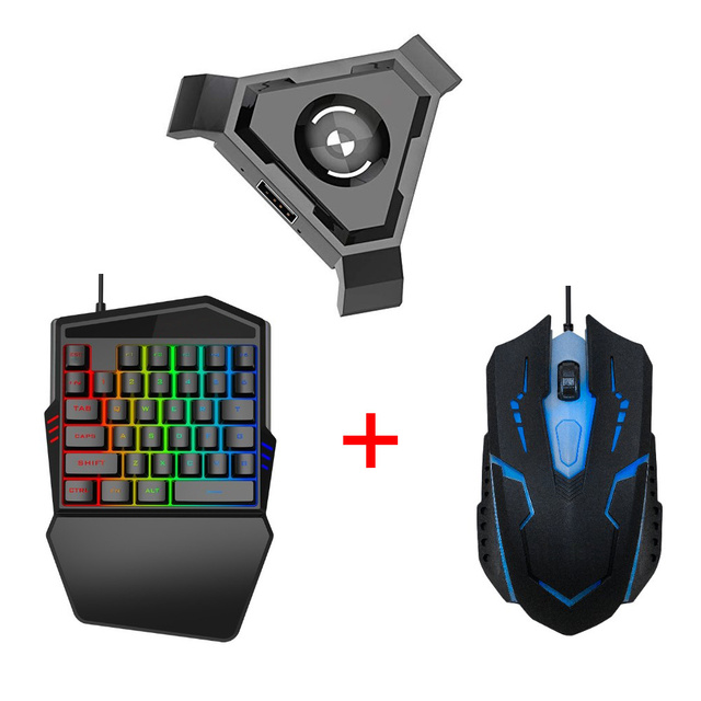 PC Adapter Gaming Keyboard Mouse No Vibration Black USB Phone Mobile ABS Converter Gamepad Controller Set Bluetooth 4.1