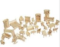 34 Pcs Set DIY 1 12 Doll House Mini Miniature Furniture Educational Dollhouse Furniture Toy 3d