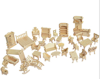 34 pcs /Set DIY 1:12 Doll House Mini Miniature Furniture Educational Dollhouse Furniture Toy 3d Wood Puzzle Building Model Toy