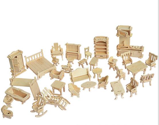 34 unids/set DIY 1:12 casa de muñecas de Mini muebles en miniatura Dollhouse educativo juguete de madera 3d modelo del edificio del rompecabezas juguete