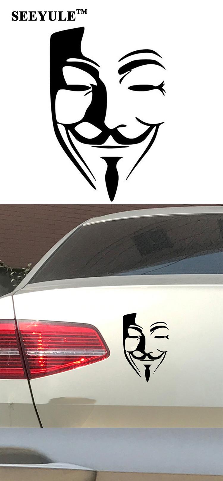 1pc Seeyule Reflective Car Sticker Anonymous Mask Sexy Man V For Vendetta Car Window Bumper Styling Decoration For Bmw Audi Car Sticker Reflective Car Stickerfor Bmw Aliexpress Anonymous mask guy white car road