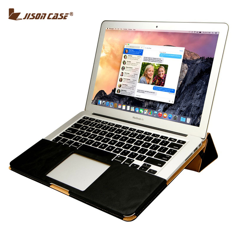 Jisoncase PU Leather Case For MacBook Air Pro Retina 11 12 13 15 inch Laptop Sleeve Luxury Stand Cover Leisure Bag