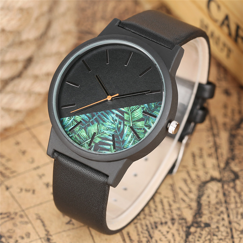 Unique Quartz Tropical Jungle Design Women Watches Casual Leather Band Men Military Flower Ladies Watch Analog Clock 2018 New onlyou men s watch women unique fashion leisure quartz watches band brown watch male clock ladies dress wristwatch black men