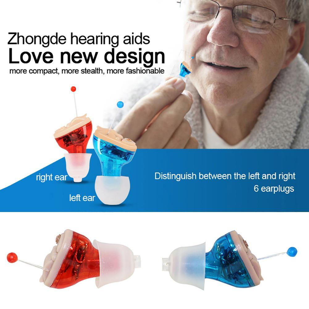 Petite prothèse auditive professionnelle sans fil gauche/droite Mini amplificateur de son intra-auriculaire