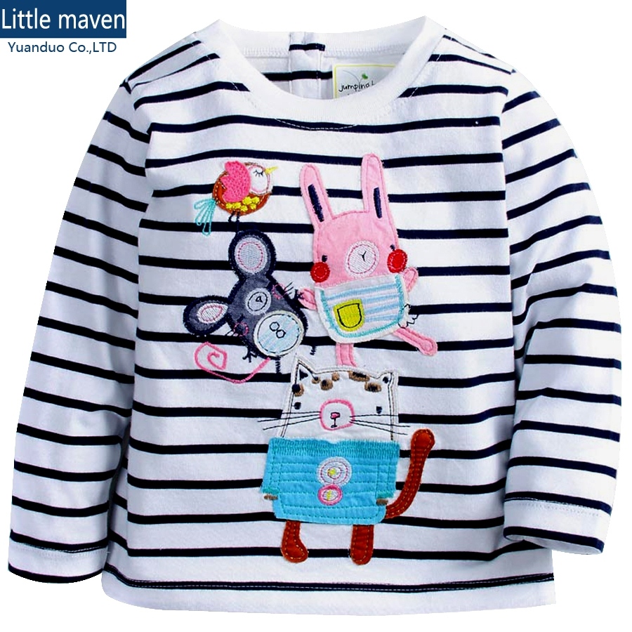 little maven baby Girls Tshirt long sleeves stripe Cotton T shirts kids clothes Baby Girl T shirts for girls tops Kids clothing
