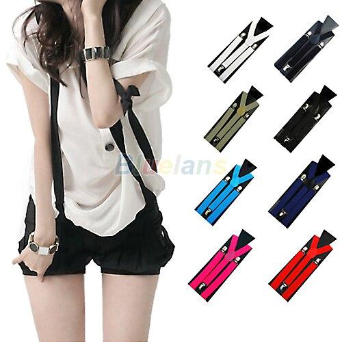 Hot 1PC New Mens Womens Unisex Clip-on Suspenders Elastic Y-Shape Adjustable Braces Colorful 0J6G BCX5