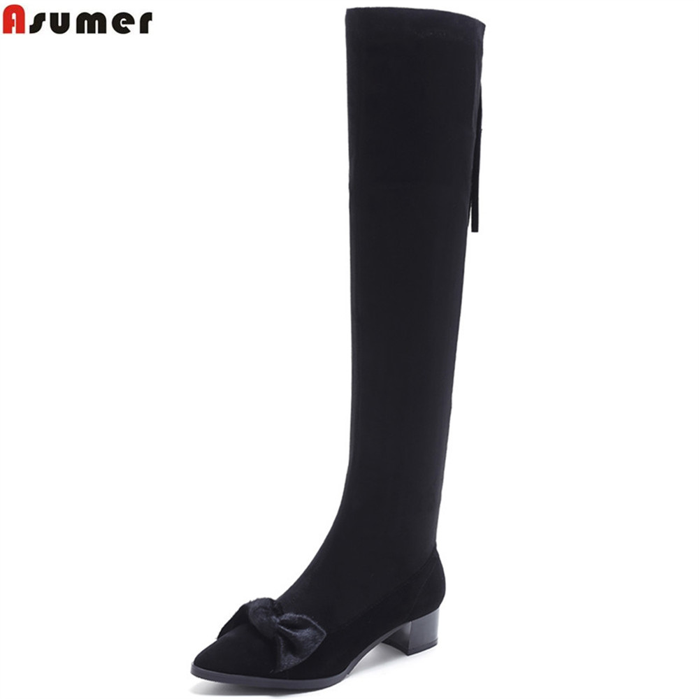 ASUMER pointed toe square heel zipper women shoes kid suede boots black autumn winter new arrive sexy over the knee boots asumer 2018 hot sale new arrive women boots pointed toe black autumn winter ladies boots zipper buckle over the knee boots