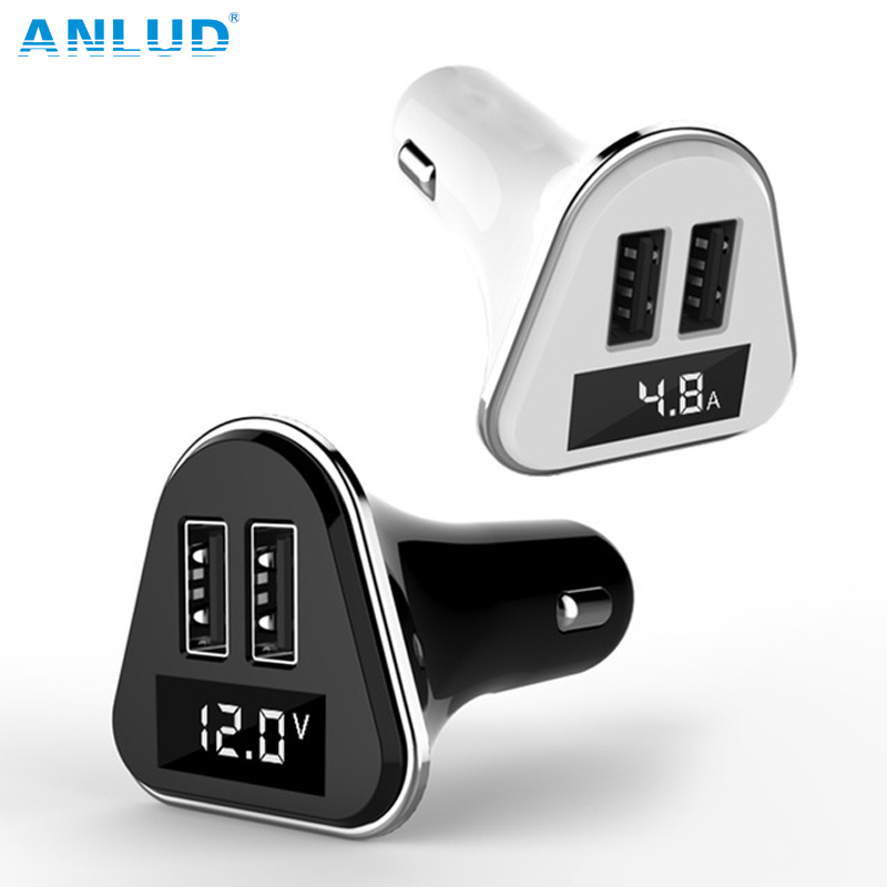 2017 Anlud New Dual USB Universal ABS+PC LED Screen Car Charger for Phones Ipads Charger with Volatge Display Hot Selling