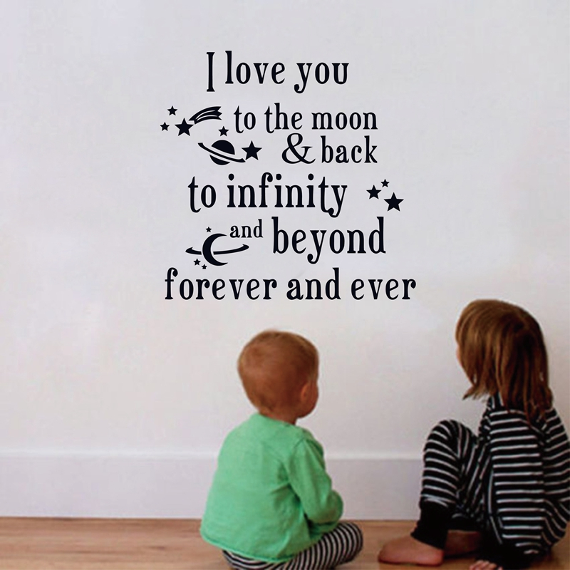 1395bf9e7 أنا أحبك إلى القمر والعودة الاطفال السرير غرفة جدار اقتباسات جميلة الحضانة  الحائط ملصقات ديكور لتزيين الغرف