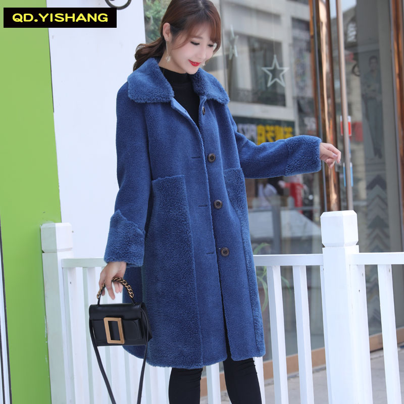 Shearling Coat Winter Sheepskin Coat Blended Wool Coat Long Style  Loose Style 30% Wool Content QD.YISHANG