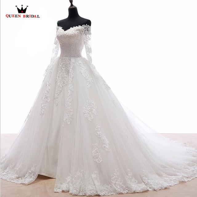Custom Made Ball Gown Detachable Skirt Lace Long Sleeve Elegant Wedding Dresses robe de mariee Vestidos De Novia WS80
