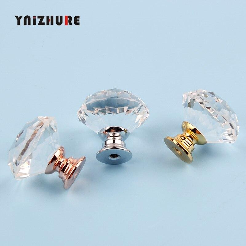 YNIZHURE  Diamond Shape Crystal Glass Knobs Cupboard Pulls Drawer Knobs Kitchen Cabinet Handles Furniture Handle Hardware