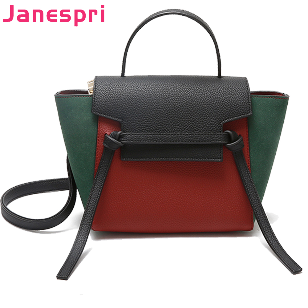 JANESPRI Luxury Leather Bags Handbags Women Famous Brands Shoulder Bags Female High Quality Designer Casual Tote Crossbody Bag casual simple cowhide tassel designer handbags high quality bags handbags women famous brands women leather handbags office tote
