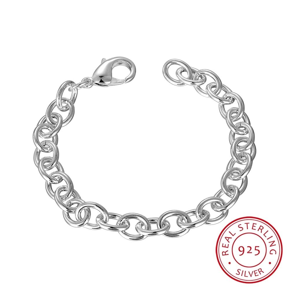 Lekani Men's Jewelry Joyas 925 Sterling Silver 8mm Link Chains 8