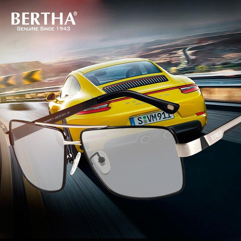 Берта фотохромные поляризованные UV400 солнцезащитные очки для Для мужчин обесцвечивание HD видения с антибликовым покрытием очки для вожден...