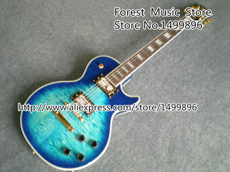 Wholesale & Retail Blue Quilted Guitar Body LP Custom Guitar Electric Left Handed Custom Available musiclily 3ply pvc outline pickguard for fenderstrat st guitar custom